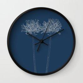 Agapanthus Blueprint Wall Clock
