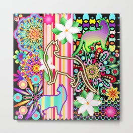 Mandalas, Cats & Flowers Fantasy Pattern Metal Print
