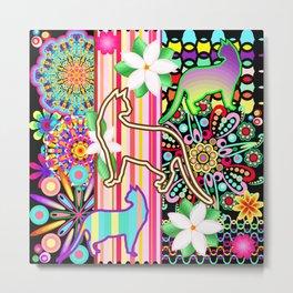 Mandalas, Cats & Flowers Fantasy Pattern Metal Print