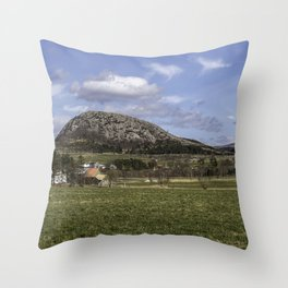Panoramic shot of a combination of blue sky of mountain clouds and fields. Throw Pillow