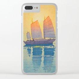 Sailing Boats, Morning Hiroshi Yoshida Modern Japanese Woodblock Print Clear iPhone Case