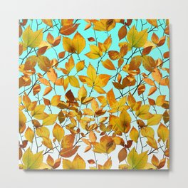 Autumn Leaves Azure Sky Metal Print