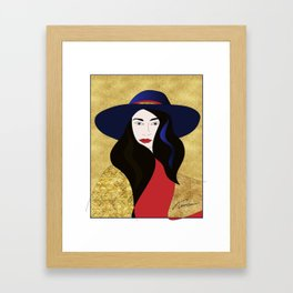 Hat Lady with the Golden Background Framed Art Print