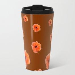 ORANGE POPPY FLOWERS ON COFFEE BROWN Travel Mug