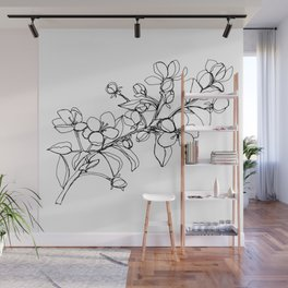 Apple Blossoms, A Continuous Line Drawing Wall Mural