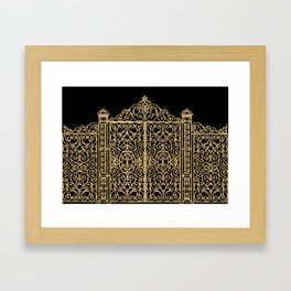 French Wrought Iron Gate | Louis XV Style | Black and Gold Framed Art Print