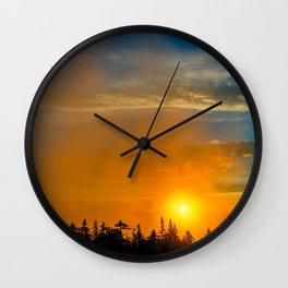 Gold Mist Sunset Wall Clock