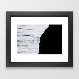 Black and White - Abstract minimal Iceberg aerial view in Greenland - Landscape Photography Framed Art Print
