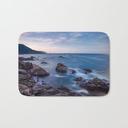 Rocky Shore - Waves Crash on Rocks Along Coast at Big Sur Bath Mat
