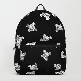 Cute punk rock skull monochrome lineart background pattern Backpack