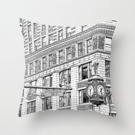 Father Time Clock in the Windy City. Throw Pillow