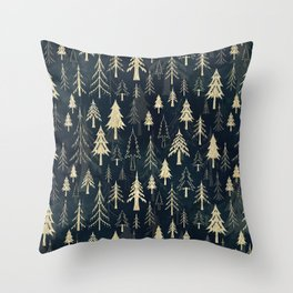 Christmas tree forest in gold Throw Pillow