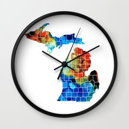 Michigan State Map - Counties by Sharon Cummings Wall Clock