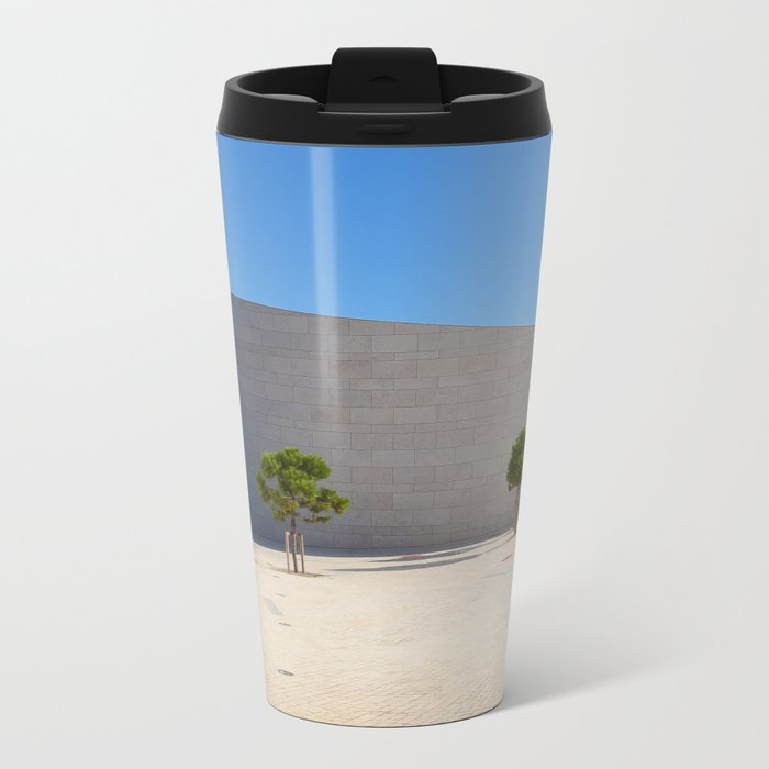 Lisbon orange blue Metal Travel Mug