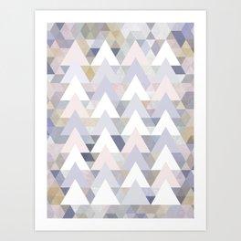 Pastel Graphic Winter Peaks on Geometry #abstractart Art Print