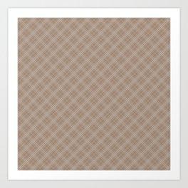 Christmas Woodland Bronzed Brown Diagonal Tartan Check Plaid Art Print