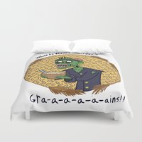 zombies Duvet Covers featuring Vegan Zombies by Matt Wydick