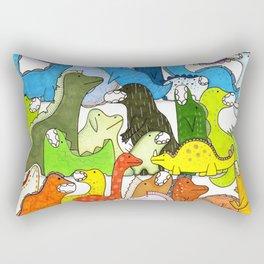 Rainbow Dinosaur Gradient Rectangular Pillow