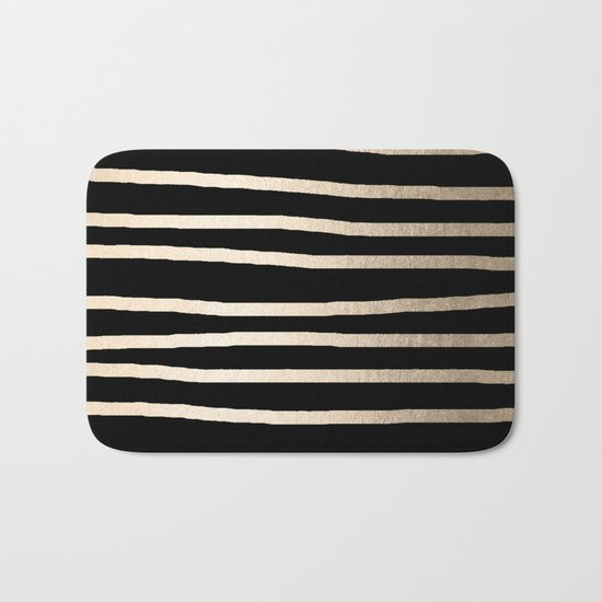 Simply Drawn Stripes White Gold Sands on Midnight Black Bath Mat