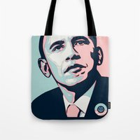 obama Tote Bags featuring Obama LGBT by HUMANSFOROBAMA