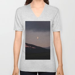 Moon over blackness and red pink ice Unisex V-Neck