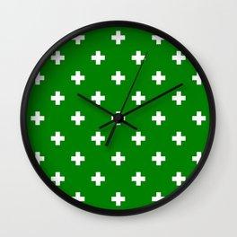 Swiss cross pattern on green Wall Clock