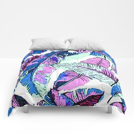 BANANA LEAF PALM PASTEL PINK AND BLUE Comforters