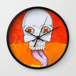 Color skull, cartoon bright colored skull Wall Clock