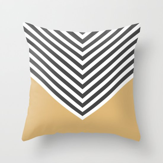 Gold Chevron Throw Pillow