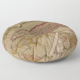 Vintage Map of New York City (1821) Floor Pillow