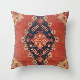 Southwest Tuscan Shapes I // 18th Century Aged Dark Blue Redish Yellow Colorful Ornate Rug Pattern Throw Pillow