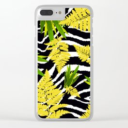 ZEBRA PALMS AND FERNS YELLOW AND GREEN Clear iPhone Case