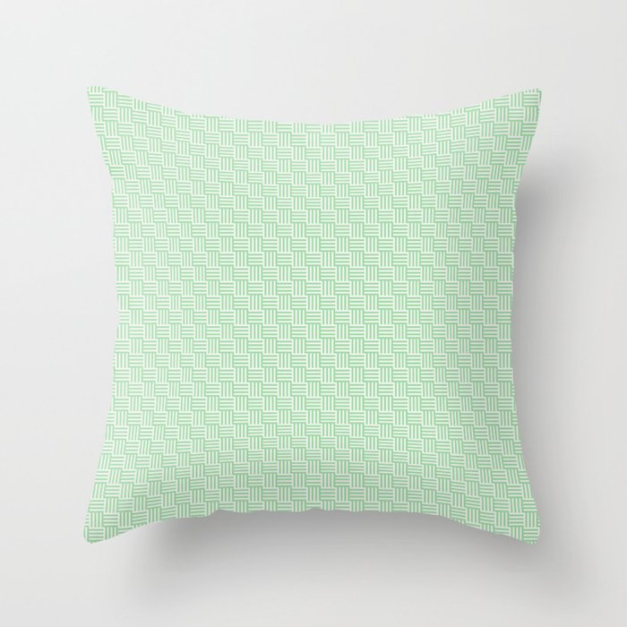 Pastel Mint Green and Off White Grid Stripes Tessellation Pattern - Neo Mint 2020 Color of the Year Throw Pillow