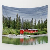 cabin Wall Tapestries featuring Red Cabin by PerfxctWorld