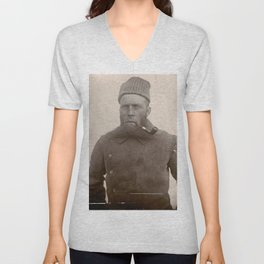 Bearded Ship Captain with Pipe - Vintage Photo Unisex V-Neck