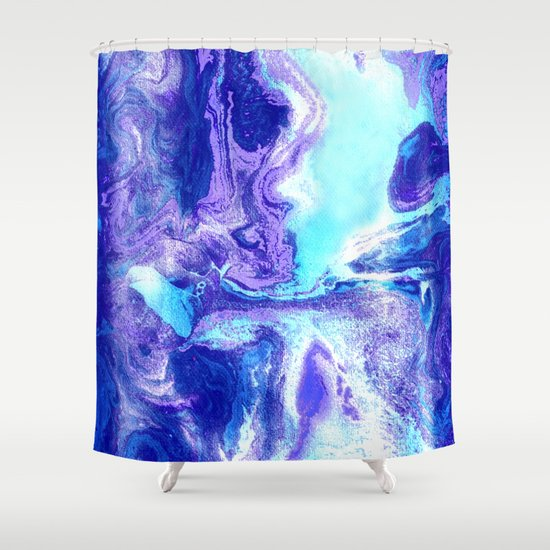 swirling marble in aqua purple royal blue shower