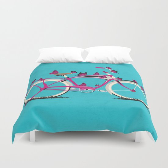Butterfly Bicycle Duvet Cover