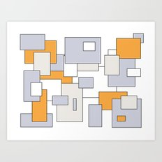Squares - orange, gray and white. Art Print
