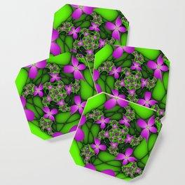 Fantasy Flowers Neon Colors, Floral Fractal Art Coaster