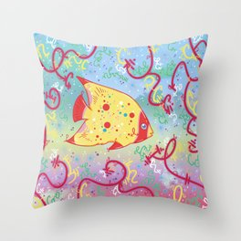 Little Tropical Fish Throw Pillow