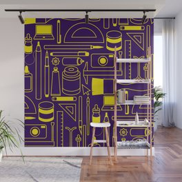 Art Supplies - Eggplant and Yellow Wall Mural