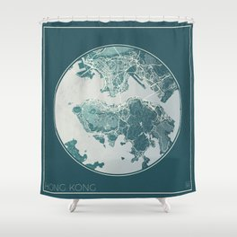 Hong Kong Map Planet Shower Curtain