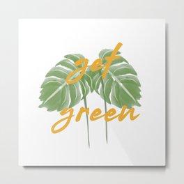 Get Green Monstera Plant Metal Print
