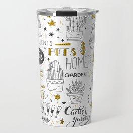 Golden Cactus pattern Travel Mug