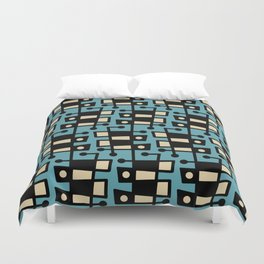 Mid Century Modern Abstract 212 Turquoise Duvet Cover