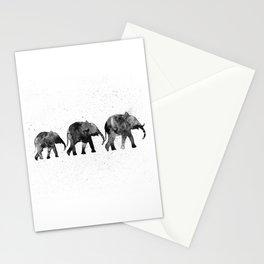 Elephants 2, black and white Stationery Cards