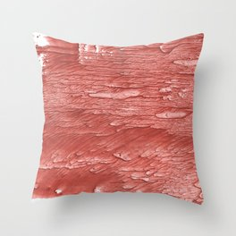 Brick red nebulous wash drawing paper Throw Pillow