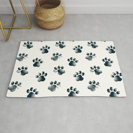Cartoon Style Cat Dog Animal Paw Prints Rug