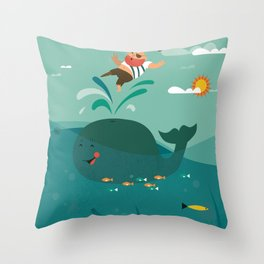 Whales and Pirates Throw Pillow
