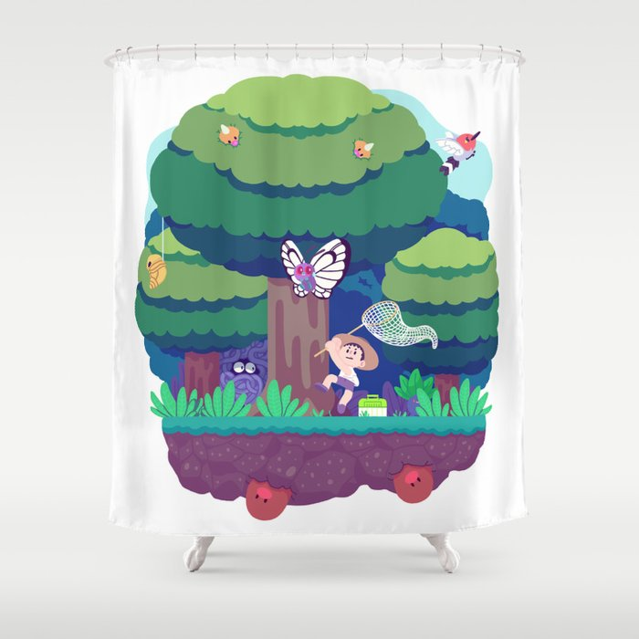 Tiny Worlds - Viridian Forest Shower Curtain